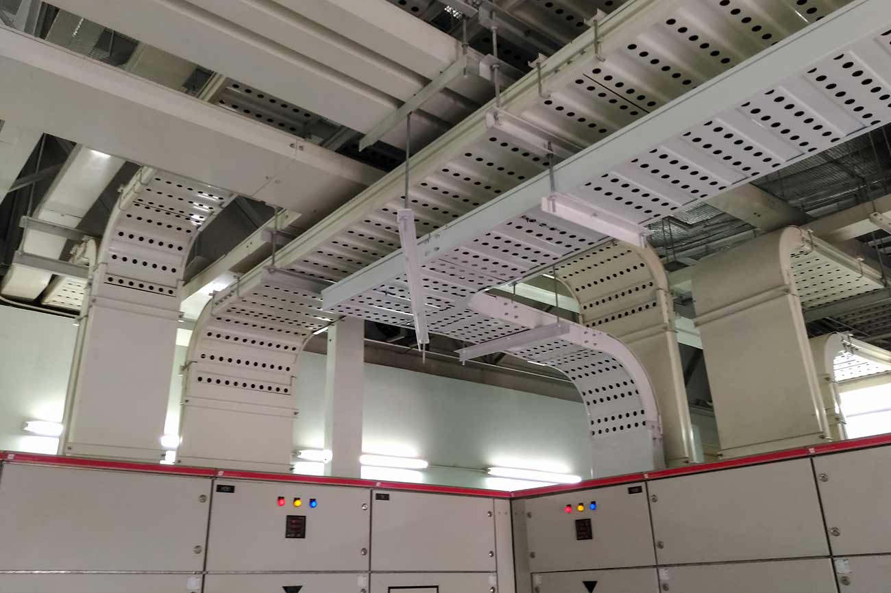 Industrial system integrators cable tray in electrical room